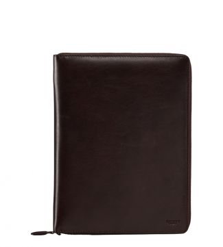 The Spencer Small Leather Document Case in chocolate | OSPREY LONDON