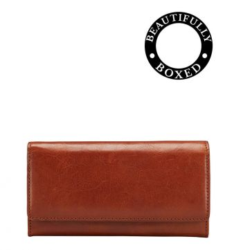 The Tamponato Large Leather Matinee Purse in cognac | Women | OSPREY LONDON