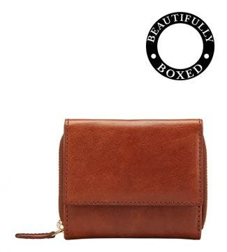 The Small Tamponato Leather Matinee Purse in cognac | OSPREY LONDON