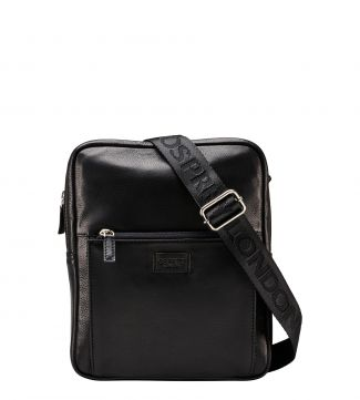 The Baltimore Black Leather Cross-Body Bag in black | OSPREY LONDON