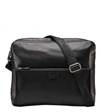 The Baltimore Black Leather Business Messenger | OSPREY LONDON