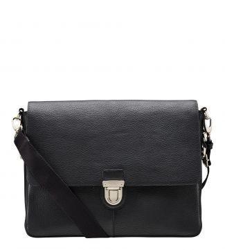 The Broadgate Leather Laptop Bag in black   OSPREY LONDON