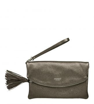 The Carina Curve Italian Leather Tassel Clutch in bronze | OSPREY LONDON