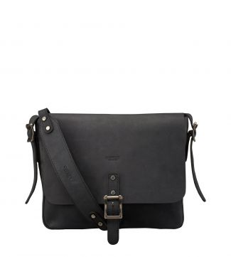 The Clayton Leather Satchel in black | OSPREY LONDON
