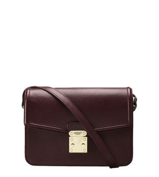 The Correspondent Leather Cross-Body in burgundy