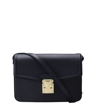 The Correspondent Leather Cross-Body in navy blue