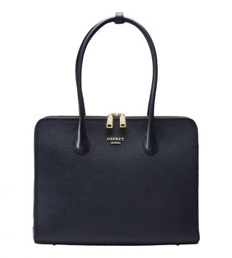 The Correspondent Leather Shoulder Workbag in navy