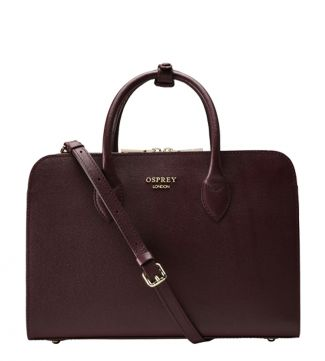 The Correspondent Leather Workbag in burgundy