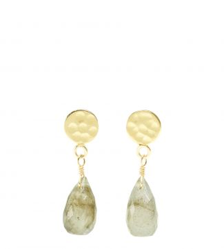The Estrella 18ct Gold Vermeil & Labradorite Drop Earrings | OSPREY LONDON