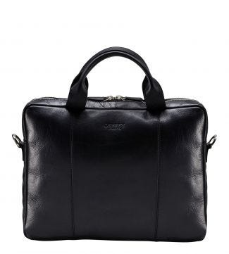 The Farringdon Leather Laptop Bag in black   OSPREY LONDON