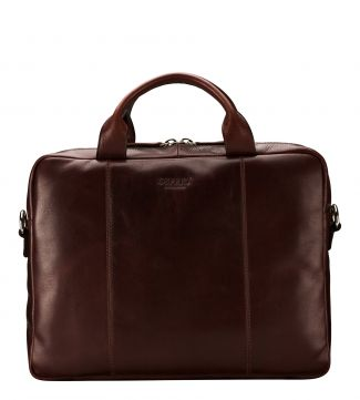 The Farringdon Leather Laptop Bag in chocolate | OSPREY LONDON