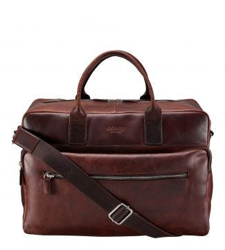 The Farringdon Leather Weekender in chocolate | OSPREY LONDON