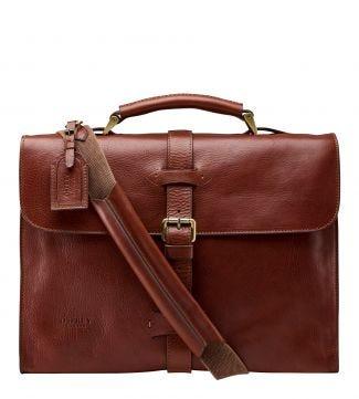 The Knighton Italian Leather Briefcase in tan   OSPREY LONDON