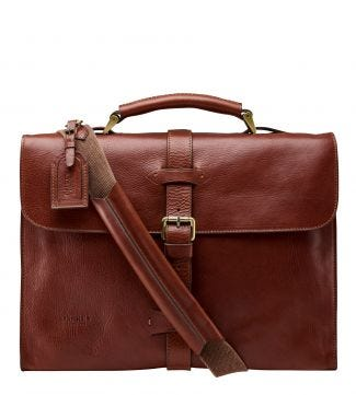 The Knighton Italian Leather Briefcase in tan | OSPREY LONDON