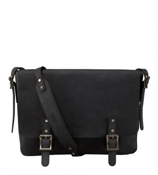 The Large Clayton Leather Satchel in black | OSPREY LONDON