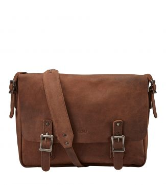 The Large Clayton Leather Satchel in chocolate | OSPREY LONDON