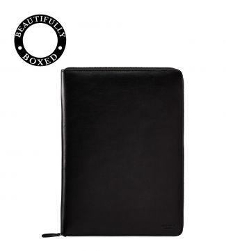 The Spencer Large Leather Document Case in black | OSPREY LONDON