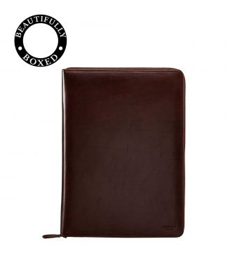 The Spencer A4 Leather Document Case in chocolate | OSPREY LONDON