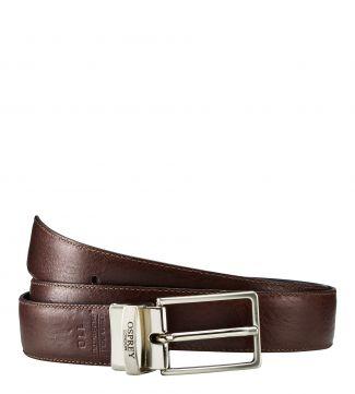 The Luca Italian Leather Reversible Belt in chocolate & black | OSPREY LONDON