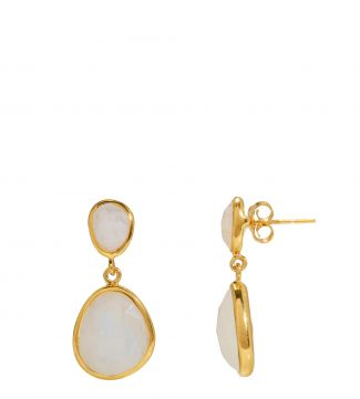 The Mara 18ct Gold Vermeil & Moonstone Two-Drop Earrings | OSPREY LONDON