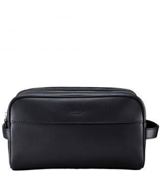 The Pall Mall Large Leather Washbag in black | OSPREY LONDON