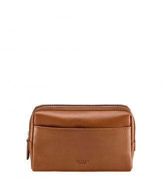 The Pall Mall Slim Leather Washbag in cognac | OSPREY LONDON