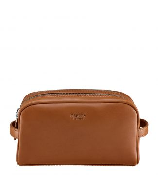 The Pall Mall Leather Washbag in cognac | OSPREY LONDON