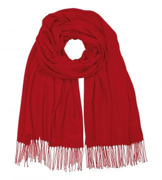 The Rainbow Wrap in cardinal red | OSPREY LONDON