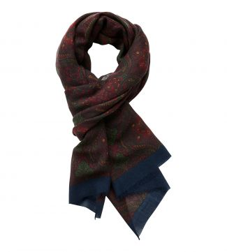 The Sheringham Paisley Wool Scarf in red| OSPREY LONDON