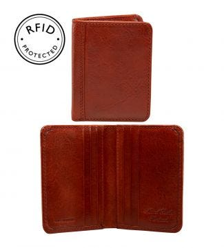 The Tamponato Leather Cardholder in cognac | OSPREY LONDON