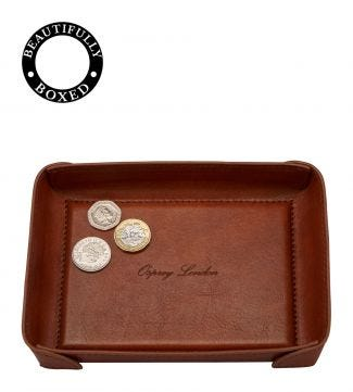 The Tamponato Leather Coin Tray in cognac | OSPREY LONDON
