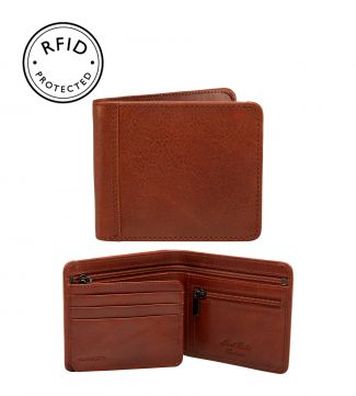 The Tamponato Leather E/W Billfold Wallet with Coin Section in cognac | OSPREY LONDON