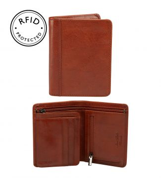 The Tamponato N/S Leather Billfold Wallet in cognac | OSPREY LONDON
