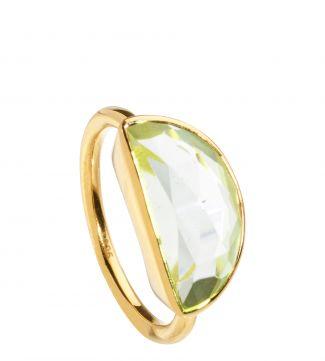The Versailles 18ct Gold Vermeil & Green Amethyst Half-Moon Ring | OSPREY LONDON