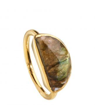 The Versailles 18ct Gold Vermeil & Labradorite Half-Moon Ring | OSPREY LONDON