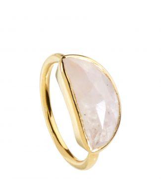 The Versailles 18ct Gold Vermeil & Moonstone Half-Moon Ring | OSPREY LONDON