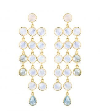 OSPREY LONDON | The Vienna Gold and pale gemstone cascade chandelier Earrings