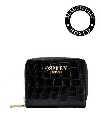 OSPREY LONDON | The Viola Black Leather Zip-Round Purse
