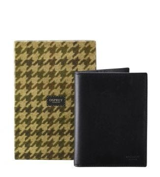 The Pall Mall Leather Passport Cover in black | OSPREY LONDON