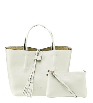 The Portofino Italian Leather Grab in coconut white | OSPREY LONDON
