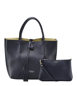 The Portofino Italian Leather Grab in midnight blue | OSPREY LONDON