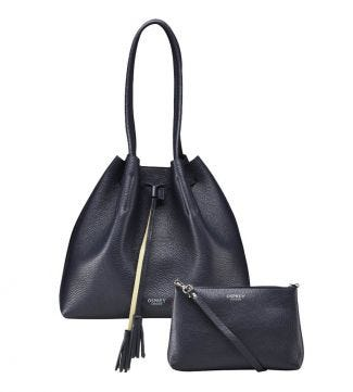 The Portofino Italian Leather Hobo in midnight blue | OSPREY LONDON