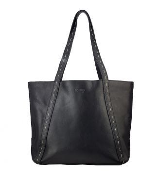 OSPREY LONDON The Saddlery Black Leather Shoulder Tote.
