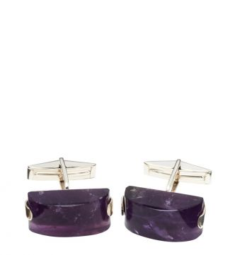 OSPREY LONDON Silver & Amethyst Cufflinks.