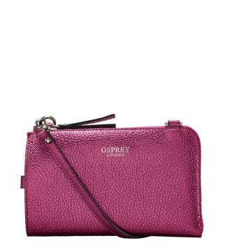 The Angelica Italian Leather Tech Pouch in sunset pink | OSPREY LONDON