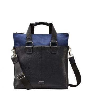 The Ballistic Nylon & Leather Tote in black & navy | OSPREY LONDON