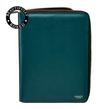 The Rainbow Large Leather Document Case in teal