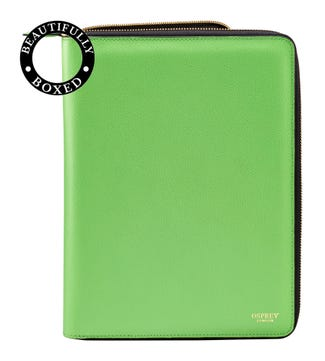 The Rainbow Large A4 Leather Document Case in apple green