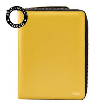 The Rainbow Large A4 Leather Document Case in lemon yellow