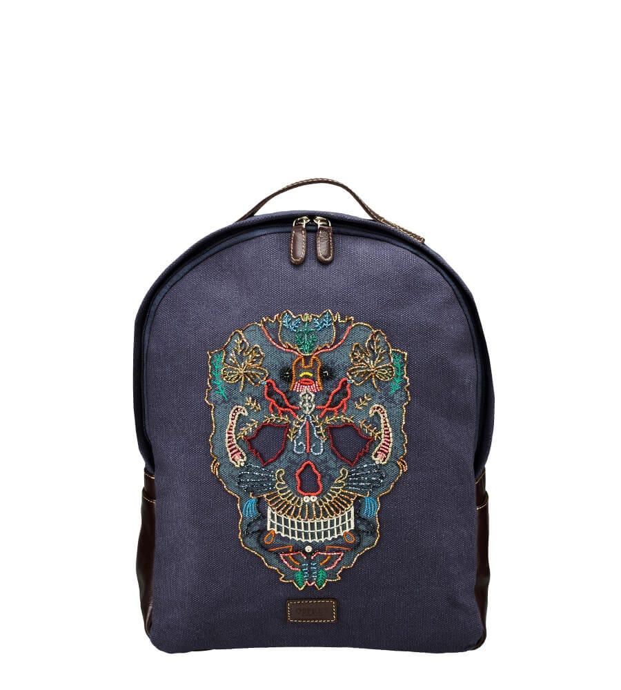 An image of The Macbeth Canvas and Leather Embroidered Backpack